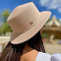 Шляпа женская летняя канотье с мерцающими камнями розовая (пудра)