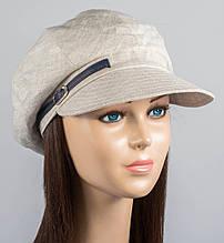 Кепка женская летняя из льна размер 56-59 цвет серый