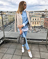 Стильний жіночий діловий брючний костюм-двійка: блузка+штани (р. 42-60). Арт-3536/13