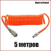 Шланг спиральный пневматический 6х8мм 5 метров Vorel 81490