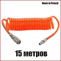 Шланг спиральный пневматический 6х8 мм 15 метров Vorel 81492