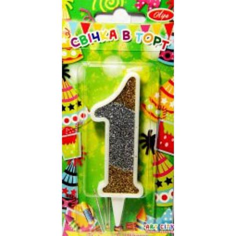 """Свічка на торт """"Цифра-1"""", золото / срібло, фото 2"""