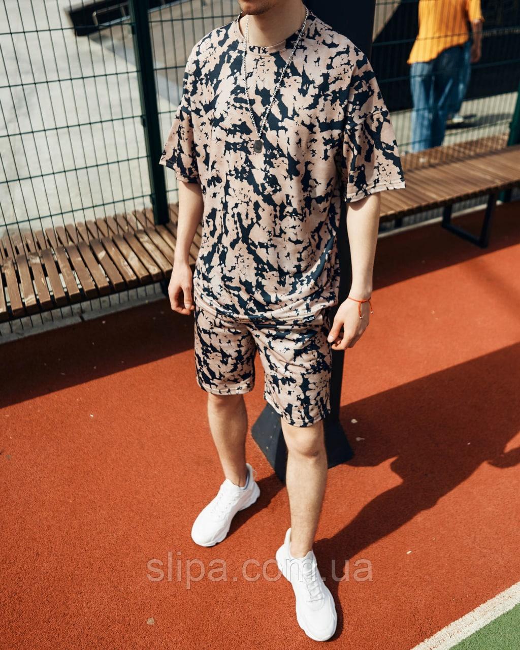 Летний спортивный костюм оверсайз МОККО   двухнить   футболка + шорты