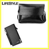 Мужская сумка через плечо Polo Videng A4 + Подарок Мужское портмоне Baellerry Classic / Сумка портфель