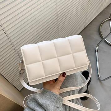 Небольшая женская белая сумка клатч код 3-476
