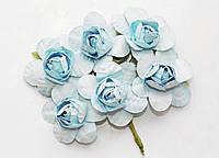 Цветы бумажные Голубые 4 см на проволоке 6 шт/уп