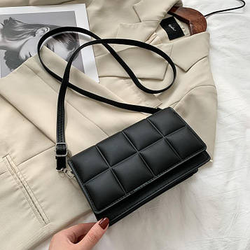 Небольшая женская черная сумка клатч код 3-476