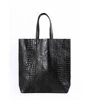 Сумка женская кожаная POOLPARTY City Leather City Bag Crocodile чёрная