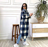 Жіноча стильна довга сорочка в клітку, фото 1