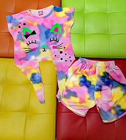 Летний комплект для девочки футболка с шортами