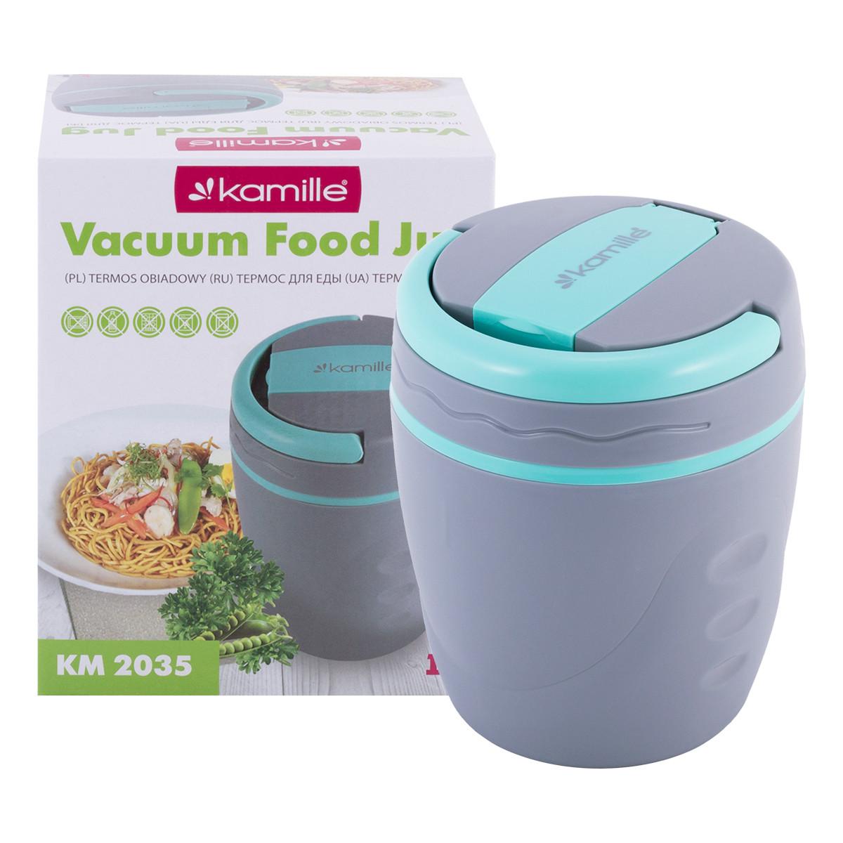 Термос пищевой обеденный для супа Kamille 1000мл пластиковый KM-2035