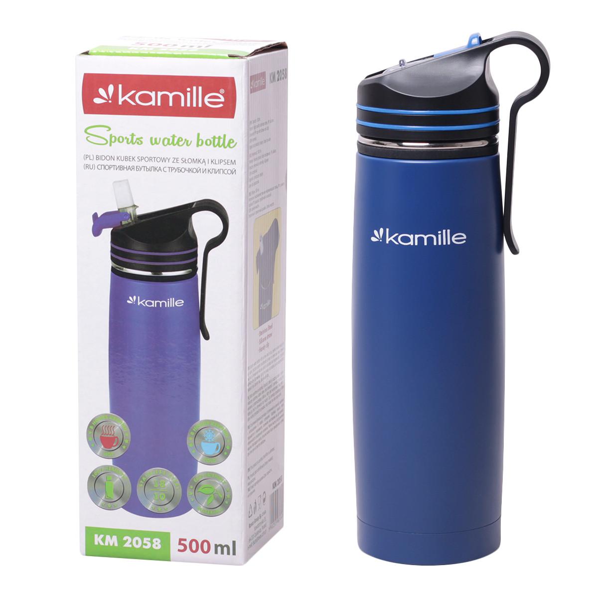 Спортивный термос-бутылка Kamille Синий 500мл из нержавеющей стали с трубочкой и клипсой KM-2058