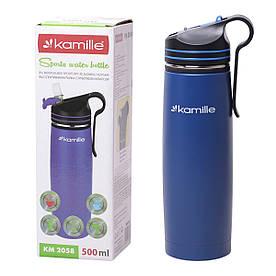 Спортивний термос-пляшка Kamille Синій 500мл з нержавіючої сталі з трубочкою і кліпсою KM-2058