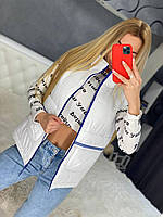 Стильная Женская жилетка Плащевка синтепон 100 Цвет белый чёрный Размеры С М Л