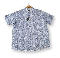 Мужская рубашка с коротким рукавом батальная синяя лен большие размеры (2XL 3XL 4XL 6XL)Турция Castelli, фото 1