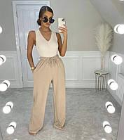 Женские стильные прямые спортивные штаны с карманами, фото 1