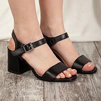 Босоножки женские черные на устойчивом невысоком каблуке-кирпичике с натуральной кожи/ 40 размер 25,5 см