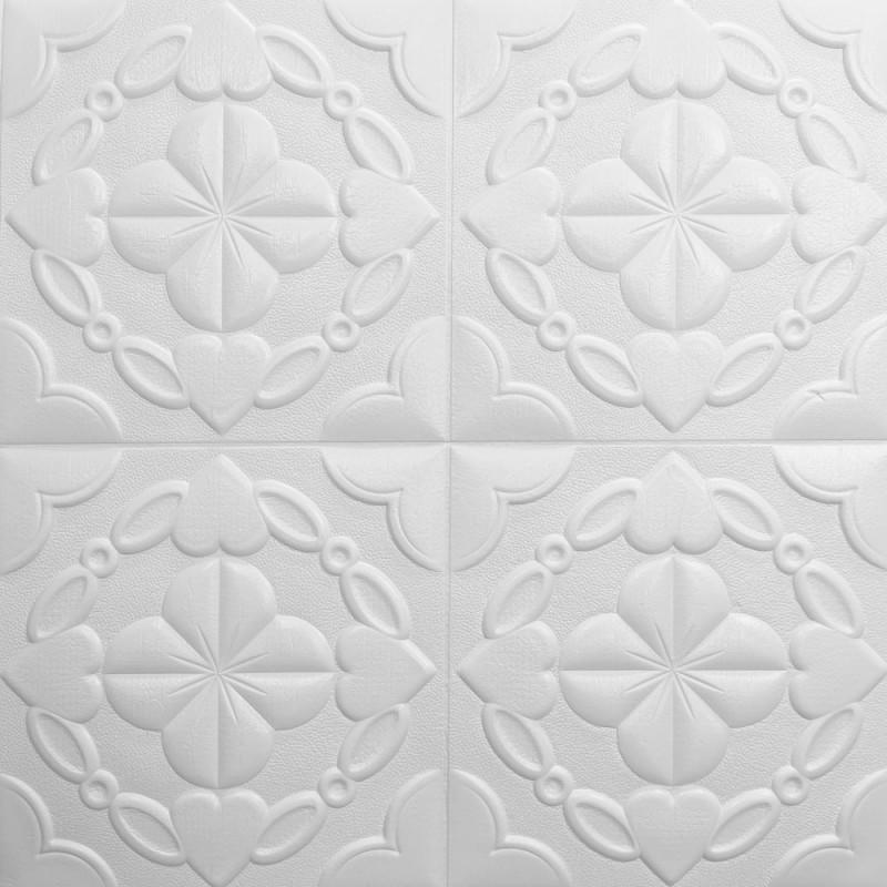 Декоративная 3D панель потолочно-стеновая самоклеющаяся УЗОР БЕЛЫЙ 700х700х9мм (в упаковке 10 шт)