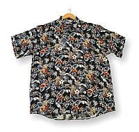 Чоловіча сорочка-гавайка з коротким рукавом батал чорна великі розміри (2XL 3XL 4XL 6XL)Туреччина Castelli, фото 1