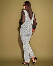 """Жіночий брючний костюм у смужку """"ALONI"""" з жакетом (великі розміри), фото 3"""
