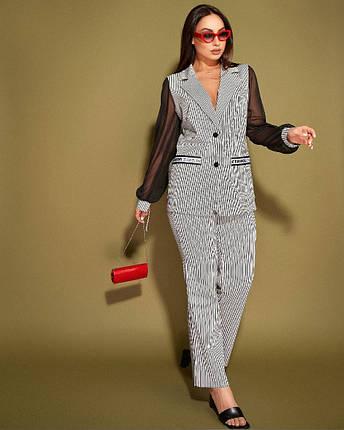 """Жіночий брючний костюм у смужку """"ALONI"""" з жакетом (великі розміри), фото 2"""