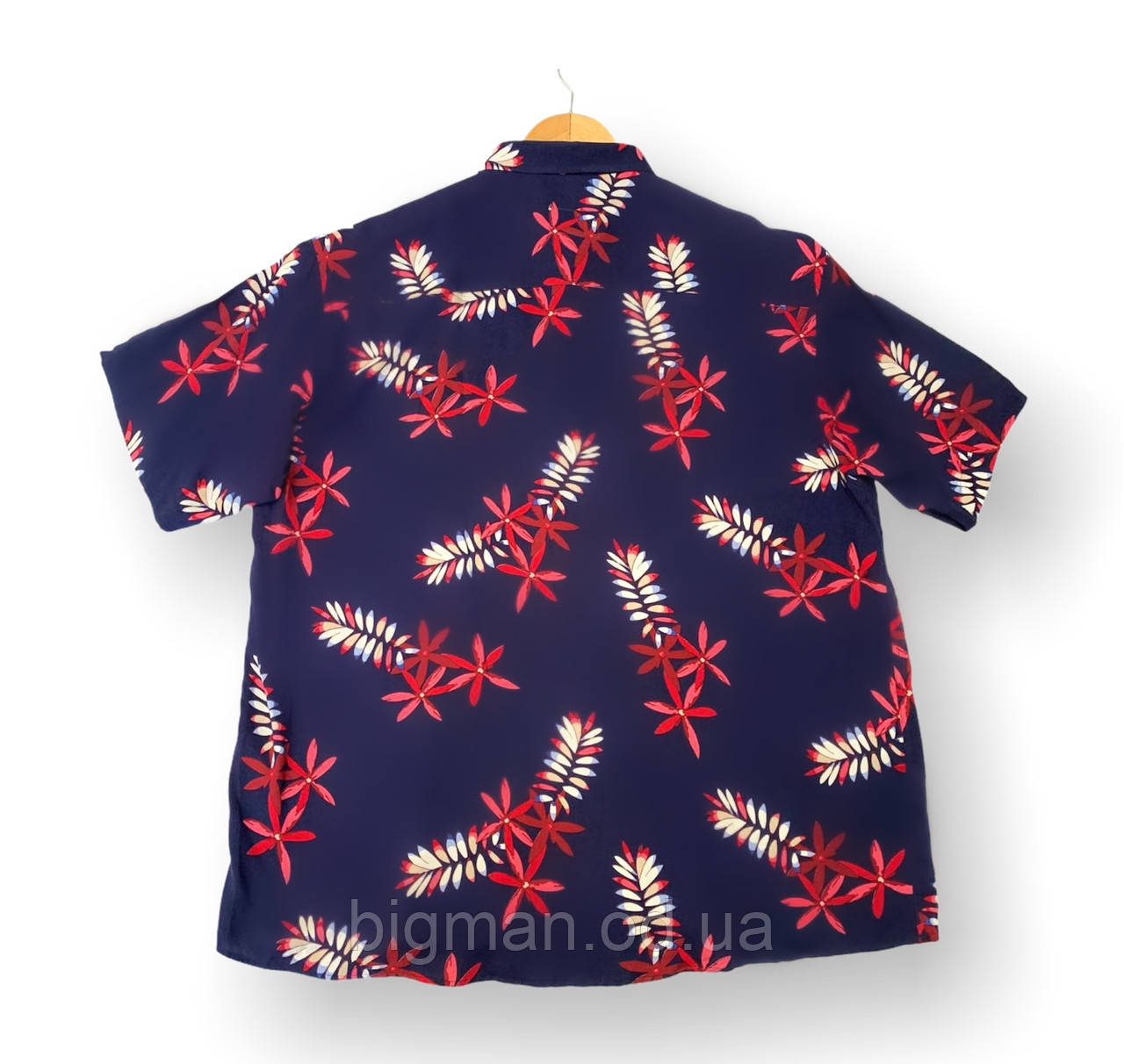 Чоловіча сорочка-гавайка з коротким рукавом батал синяябольшие розміри (2XL 4XL)Туреччина Castelli