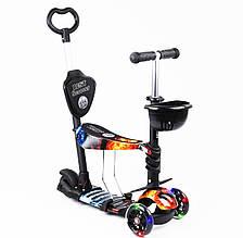 Дитячий самокат Best Scooter 5 в 1 Вогонь і лід Сяючі колеса
