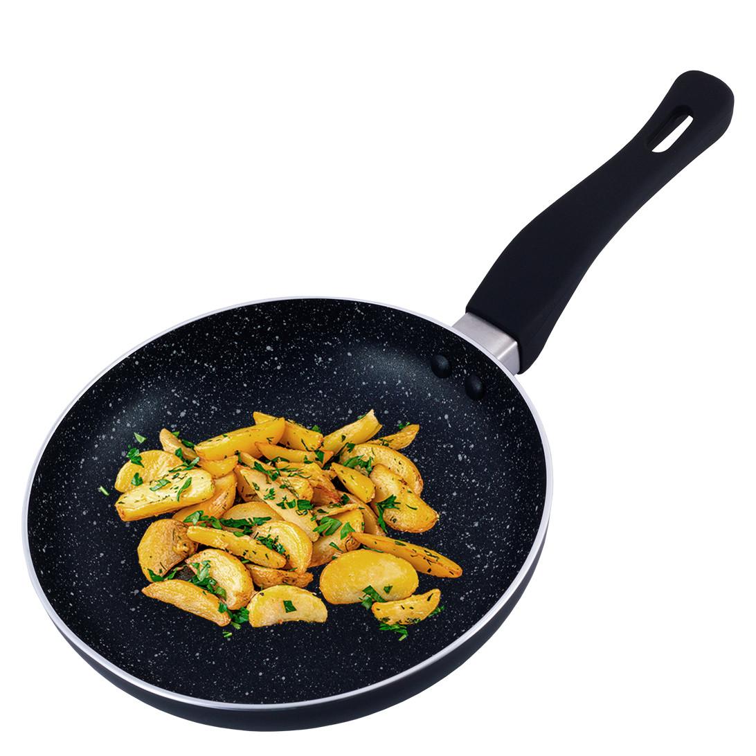 Сковорода Kamille 20см с мраморным покрытием из алюминия без крышки для индукции и газа KM-4240MR