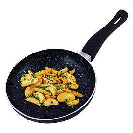 Сковорода Kamille 24см з мармуровим покриттям із алюмінію без кришки для індукції і газу KM-4244MR