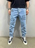 Мужские джинсы МОМ синего цвета (синие) с надписями и смайлом, молодежные бойфренды прямые Турция