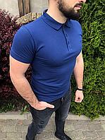 Синяя мужская футболка-поло   Турция   100% хлопок