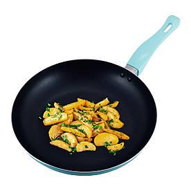 Сковорода Kamille Бірюзовий 28см з антипригарним покриттям без кришки для індукції і газу KM-4248A