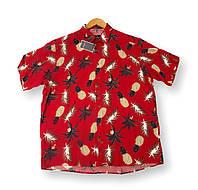 Чоловіча сорочка-гавайка з коротким рукавом батал червона великі розміри (2XL 3XL 4XL 5XL 6XL)Туреччина Castelli, фото 1