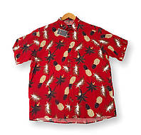 Мужская рубашка-гавайка с коротким рукавом батал красная большие размеры (2XL 3XL 4XL 5XL 6XL)Турция Castelli, фото 1