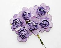 Цветы бумажные Сиреневые 4 см на проволоке 6 шт/уп