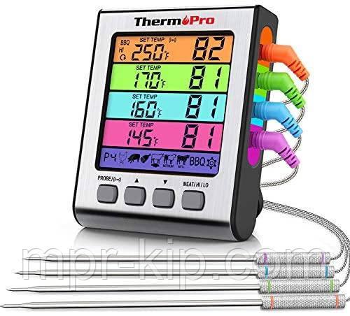 Термометр чотирьохканальний для м'яса Thermopro TP17H (-10C до +300C) з таймером та магнітом