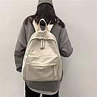 Рюкзак молодежный бежевый из плотного износостойкого холста., фото 4