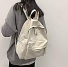 Рюкзак молодежный бежевый из плотного износостойкого холста., фото 5