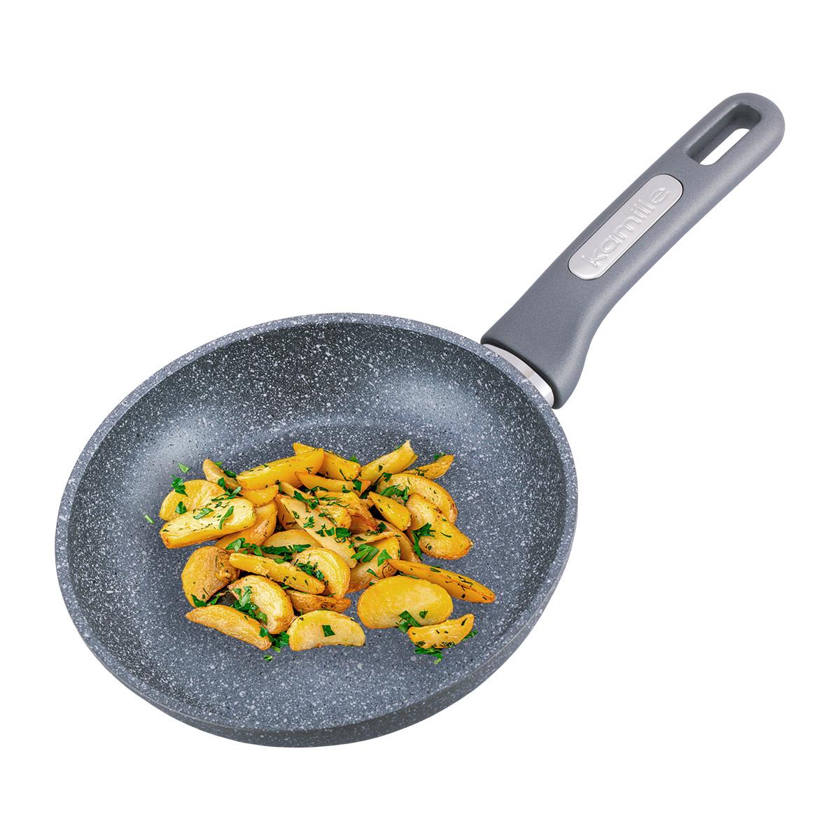 Сковорода Kamille 20см с гранитным покрытием и крышкой для индукции и газа KM-4269GR