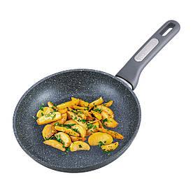 Сковорода Kamille 22см з гранітним покриттям і кришкою для індукції і газу KM-4270GR
