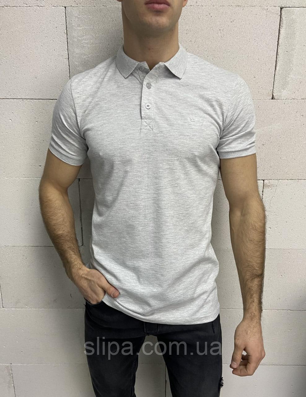 Сіра футболка-поло чоловіча меланж | Туреччина | бавовна + еластан