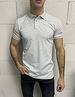 Сіра футболка-поло чоловіча меланж | Туреччина | бавовна + еластан, фото 1
