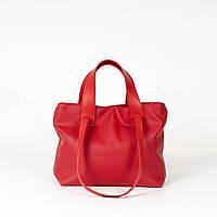 Сумка жіноча червона м'яка K62-20/1 молодіжна з подвійними ручками на плече, фото 1