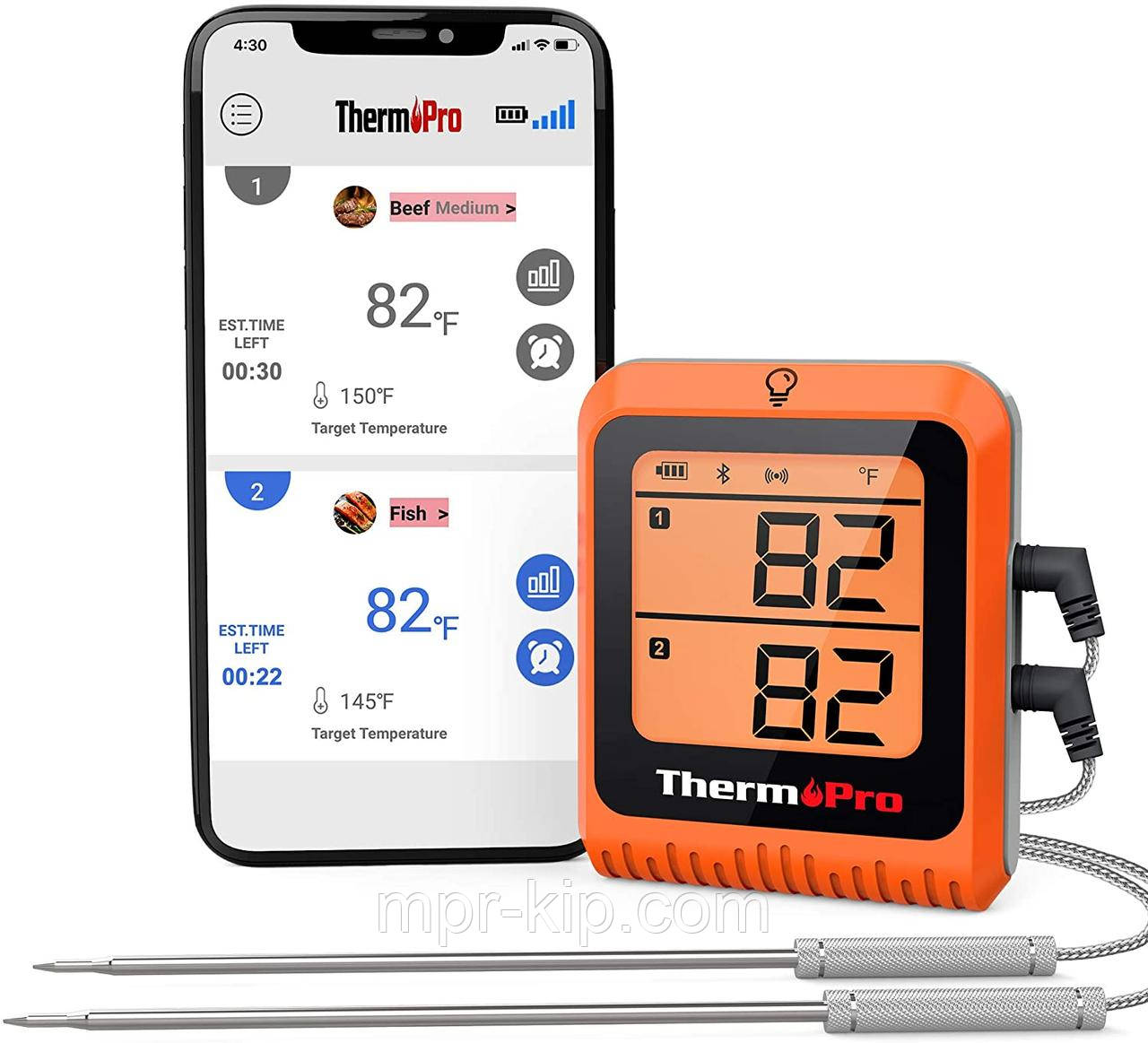 Bluetooth-термометр для мяса ThermoPro TP-25H2 с двойным зондом (150 метров) Bluetooth 5.0