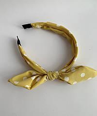 Женский обруч желтый с бантом, тканевый ободок солоха в горошек