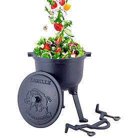 Казан чавунний емальований 7л з кришкою Kamille на ніжках для приготування їжі на вогні і плити KM-4801M