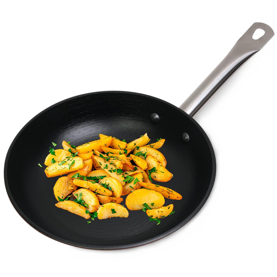 Сковорода чавунна 24см без кришки для індукції і газу KM-4803