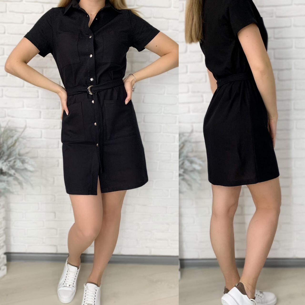 Зручне і стильне жіноче плаття-сорочка з льону з поясом, 00748 (Чорний), Розмір 50 (XXL)