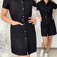 Зручне і стильне жіноче плаття-сорочка з льону з поясом, 00748 (Чорний), Розмір 50 (XXL), фото 2
