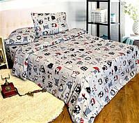 Комплект постельного белья Совы на сером    Полуторный   Бязь Gold Lux